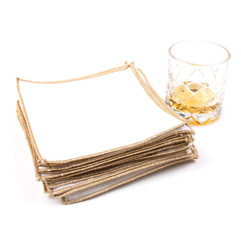 Spun in Bronze Linens: White Cocktail Napkins
