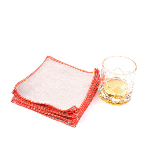 Spun in Neon Linens: Persimmon Cocktail Napkins