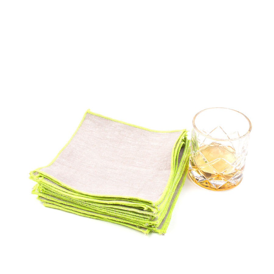 Spun in Neon Linens: Acid Yellow Cocktail Napkins