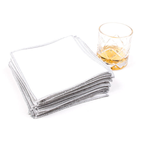 Spun in Silver Linens: White Cocktail Napkins