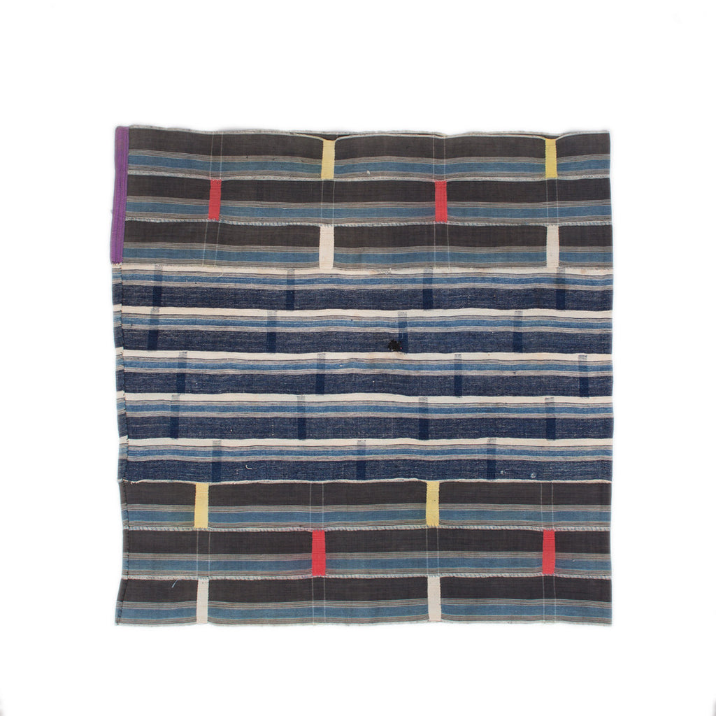 The Indigo Throw (Striped with Colored Ticks)