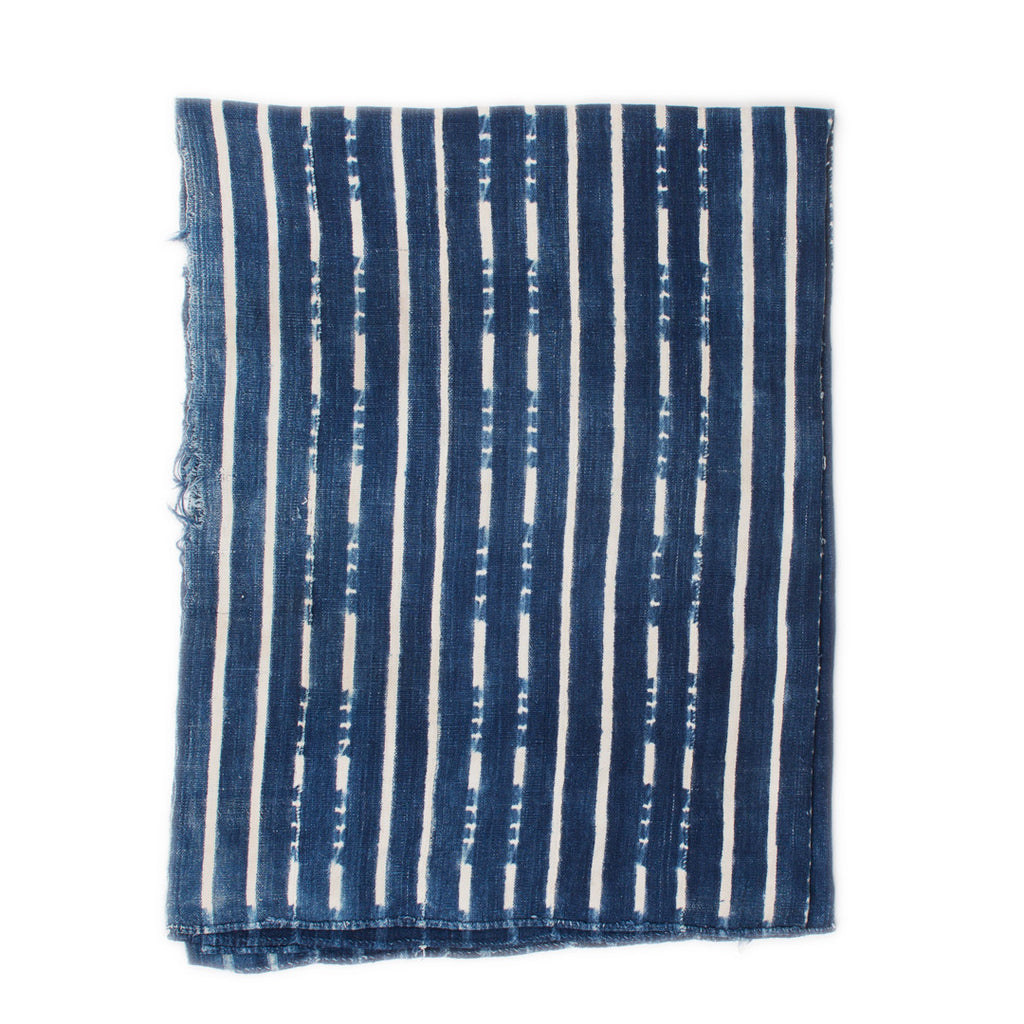 The Indigo Throw (Medium Blue/White Stripes)