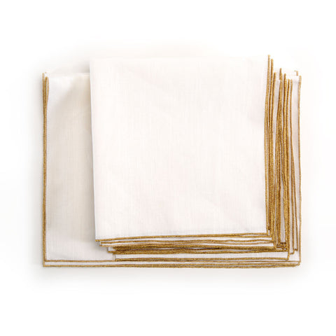 Spun in Bronze Linens: White Tea Towels