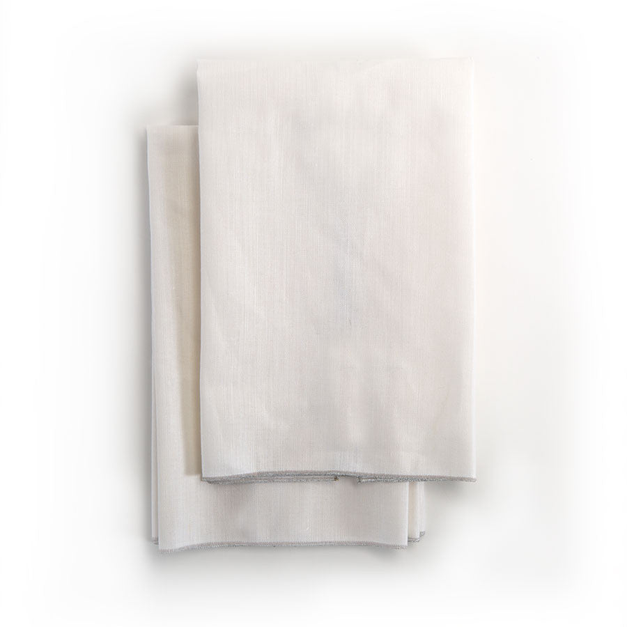 Spun in Silver Linens: White Tea Towels