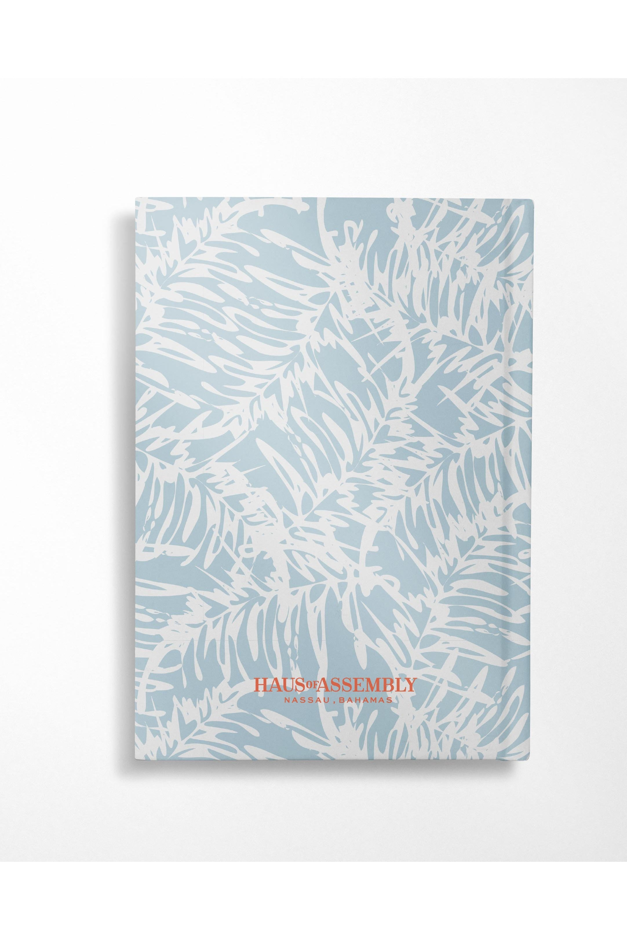 Coconut Leaves Notebook Hardcover Notebook- Shallow Blue - Hausofassembly