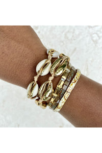 Gold Plated Cowrie Shell Bracelet Set- Mosaic - Hausofassembly