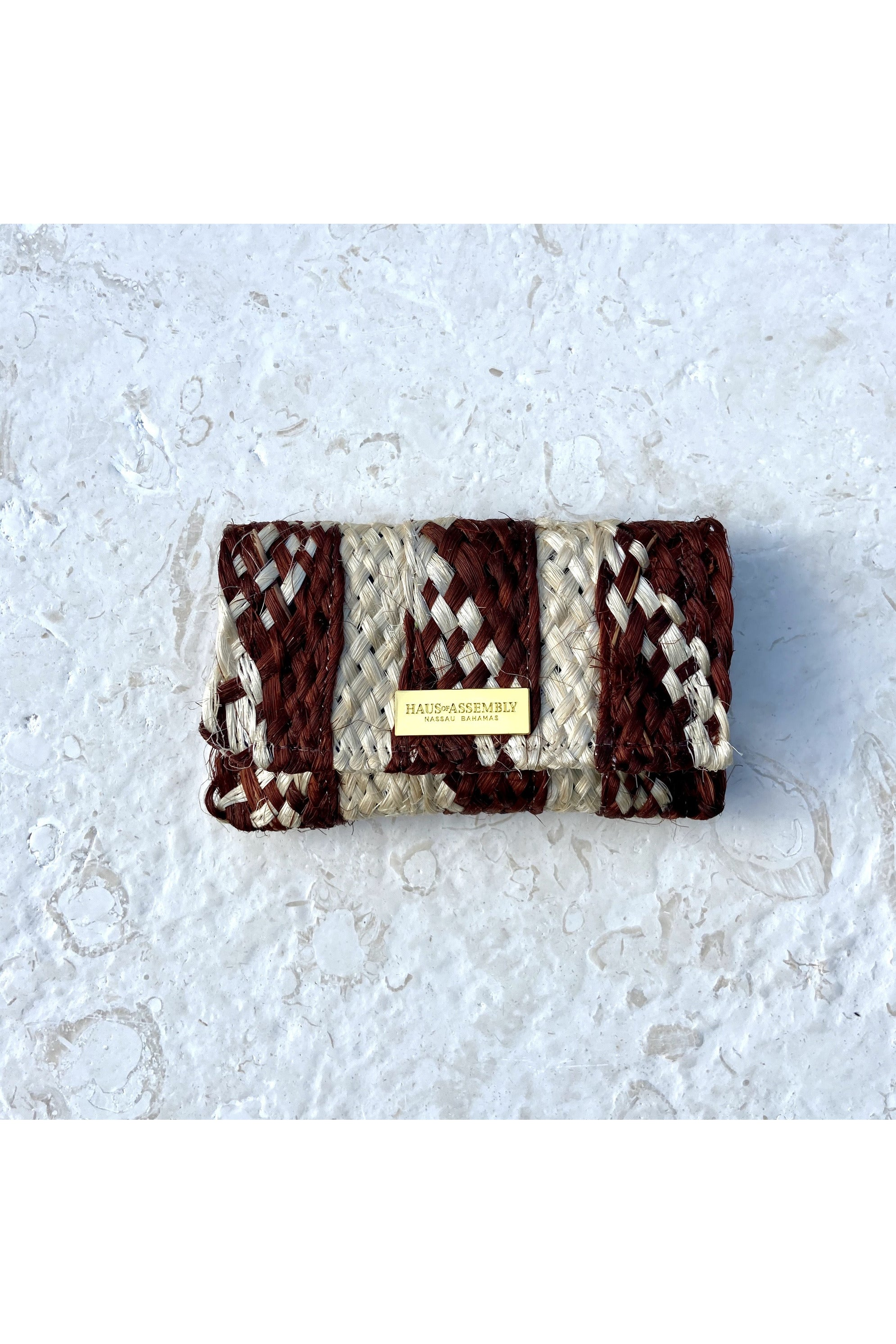 Warm Brown and White Sisal Card Wallet Coin Purse - Hausofassembly