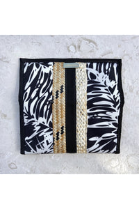 Black Coconut Fronds Printed Pouch - Hausofassembly