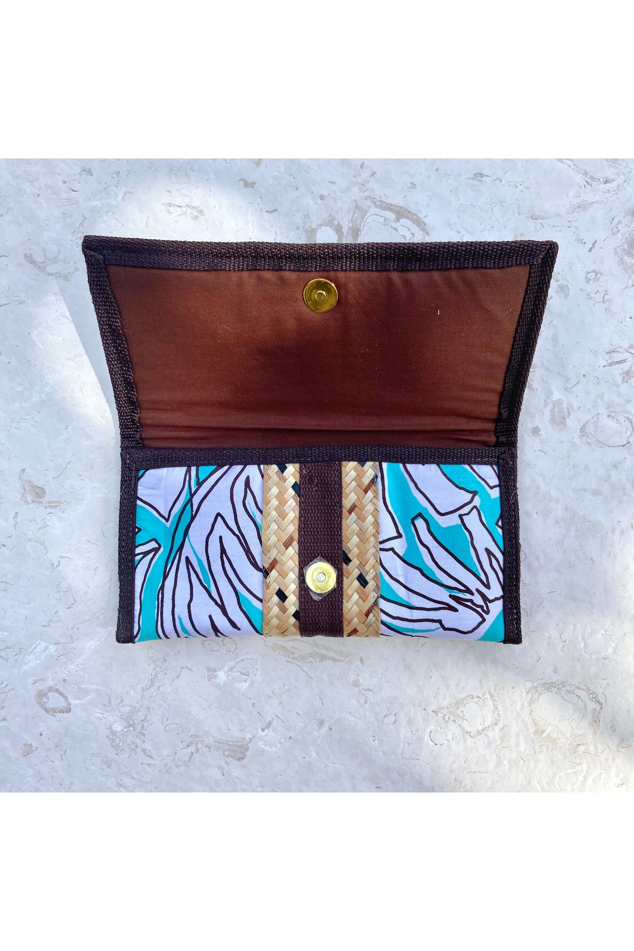 Aqua Palm Fronds Printed Clutch - Hausofassembly