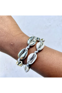 Silver Cowrie Shell Bracelet Duo - Hausofassembly