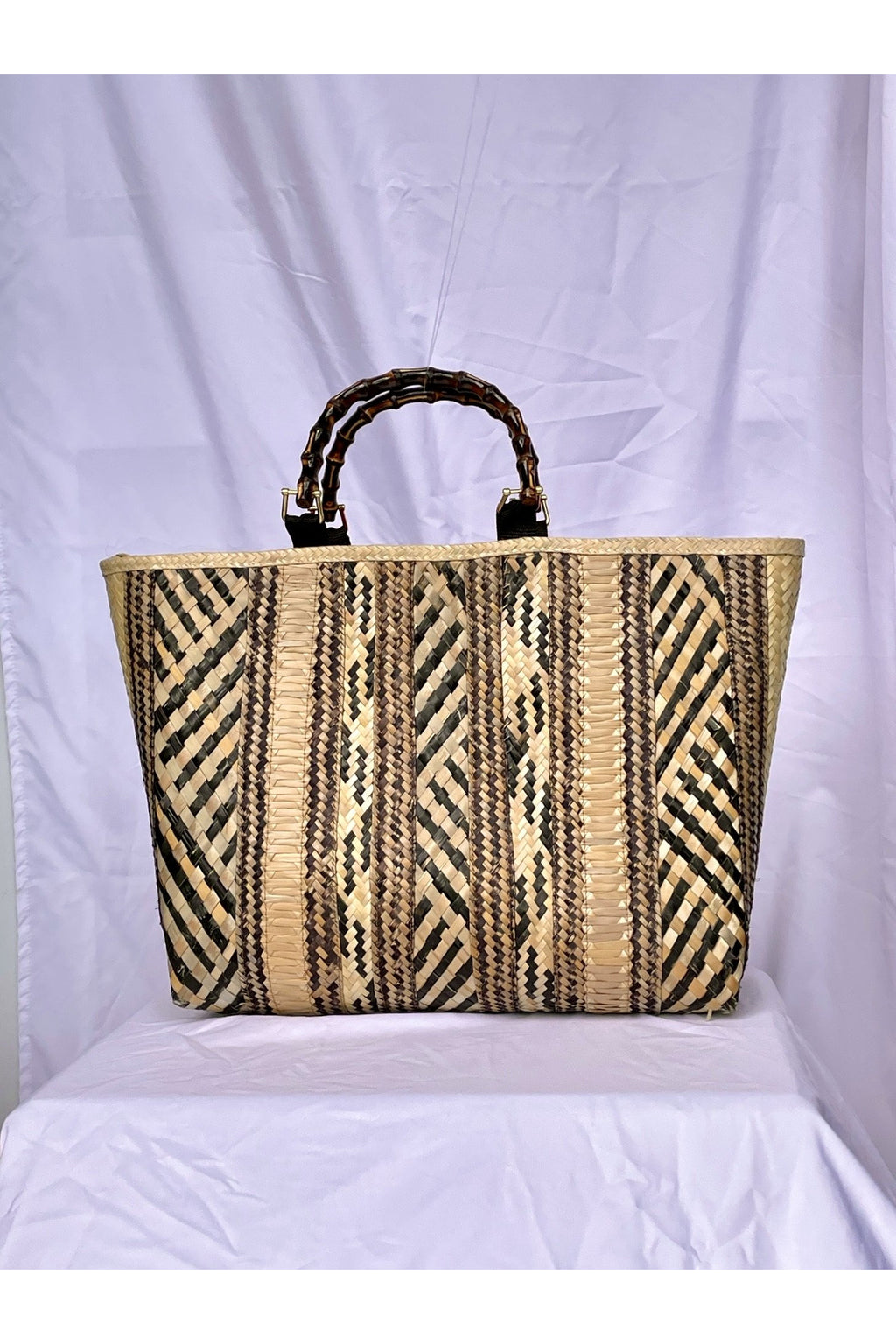 Mixed Black Bahamas Straw Market Tote Bag - Hausofassembly