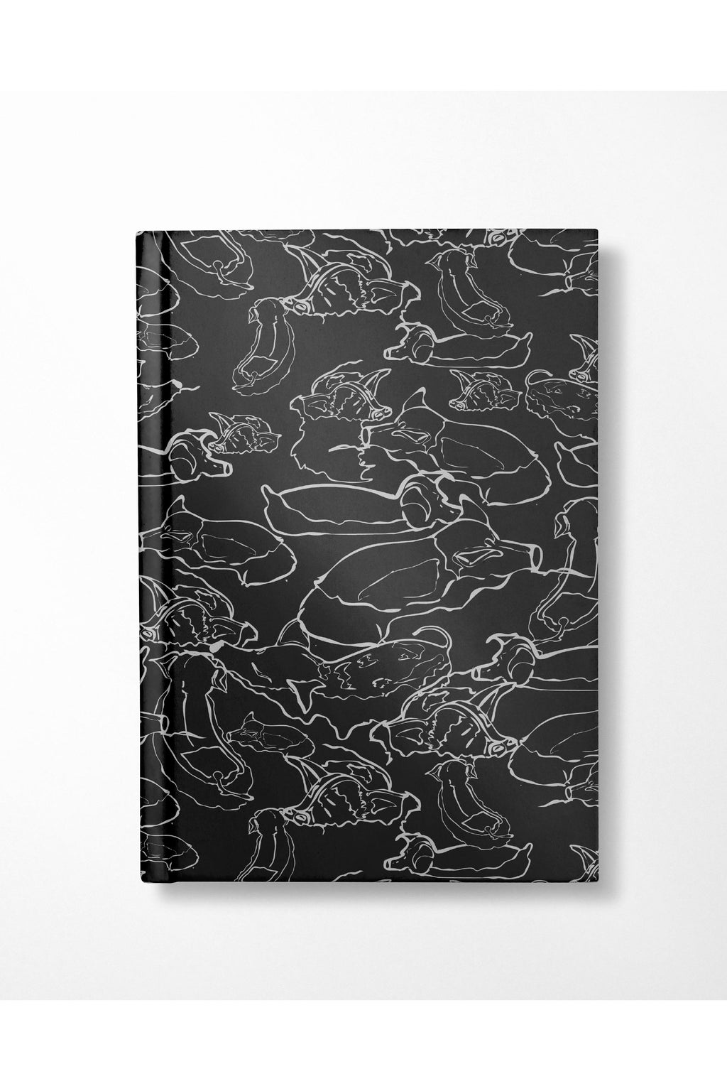 Swimming With The Pigs Large Hardcover Notebook - Black - Hausofassembly