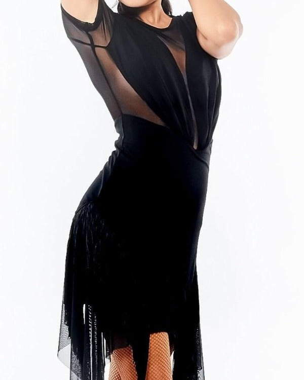 TASSEL SHEER LATIN DANCE DRESS