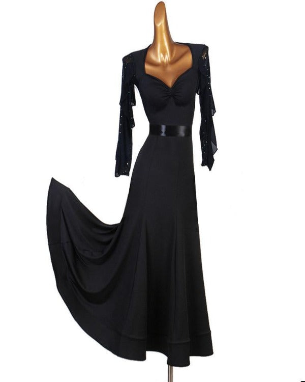 V NECK BLACK SWAN  DRESS