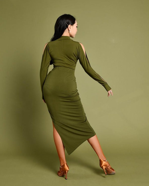 Olive Green Dance Wear (Top & Skirt)
