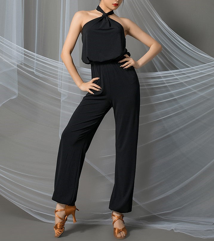 Multi Wear Black Halter Long Jumpsuit