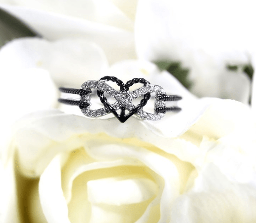 Infinity Ring In Silver&Black/Rose Gold&Silver Anchor Heart Ring Two Tone