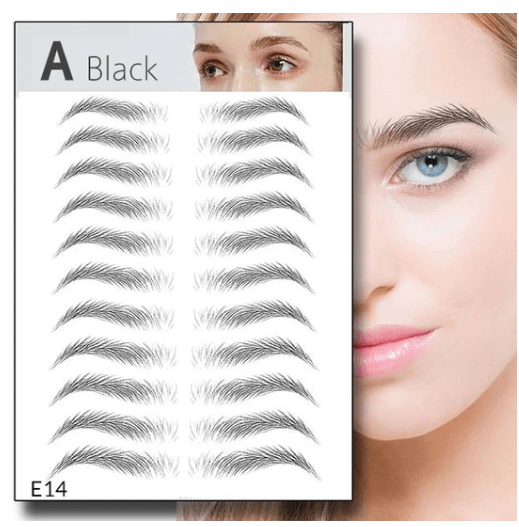 12Pairs 4D Imitation Ecological Tattoo Eyebrow Stickers