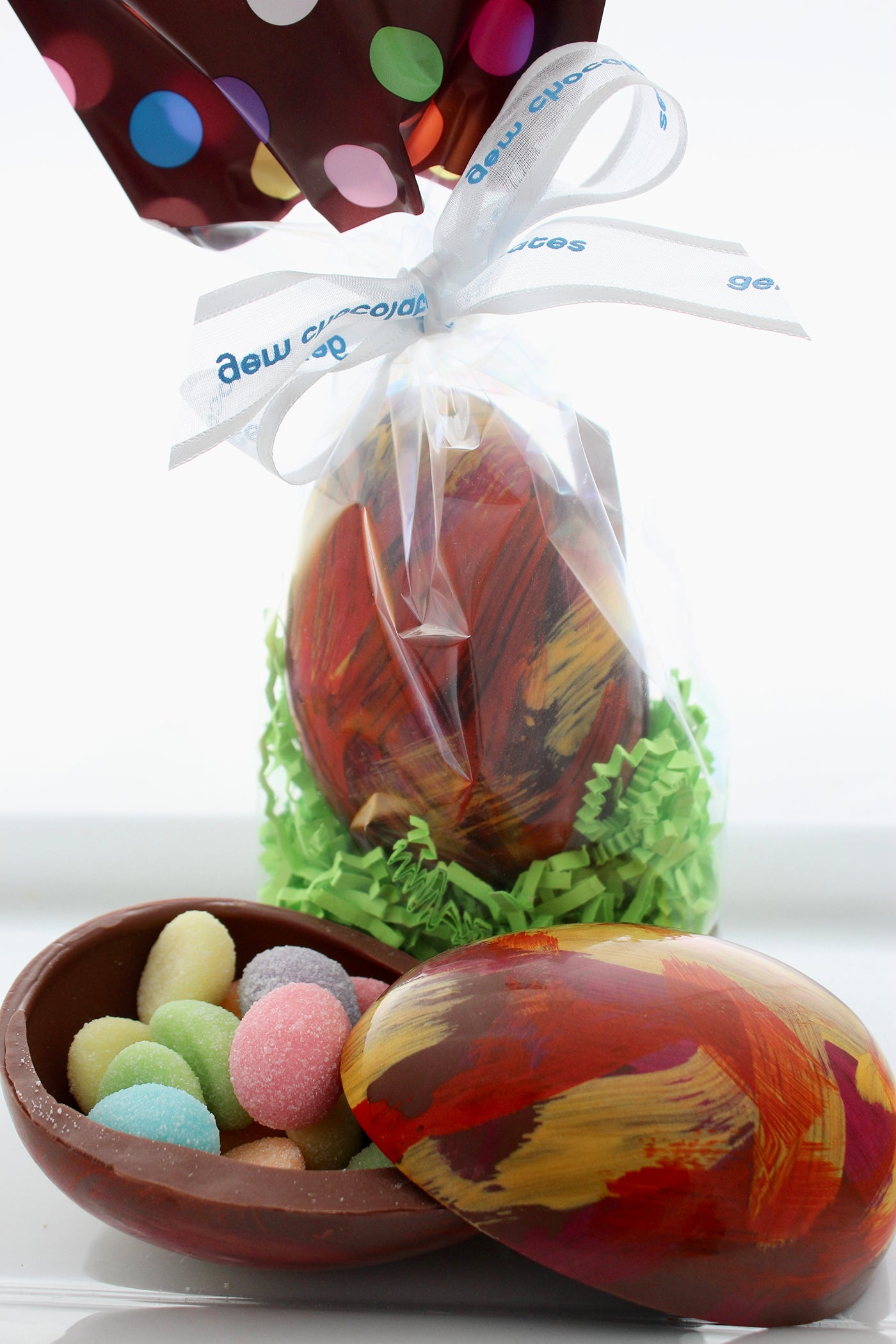 Easter Eggs Filled With Easter Gluten-free Gummy Egg Candies or Jelly Beans