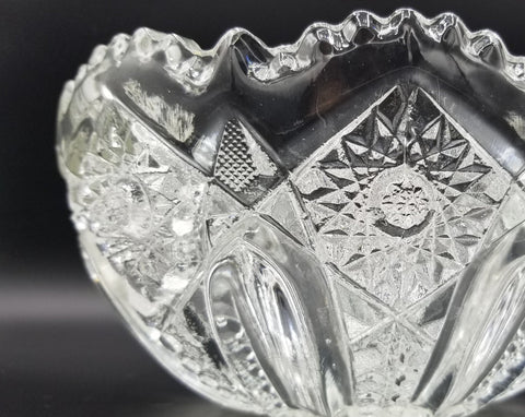 Antique Clear Glass Punch Bowl