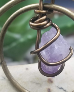 Earrings (Amethyst stone/bronze wire) #36