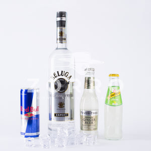 Kit Moscow Mule – Vodka Redbull – Vodka Lemon: Beluga Vodka, Fever Tree Ginger Beer, Redbull Energy Drink, Schweppes Lemon