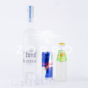 Kit Vodka Redbull – Vodka Lemon: Belvedere Vodka, Redbull Energy Drink, Schweppes Lemon