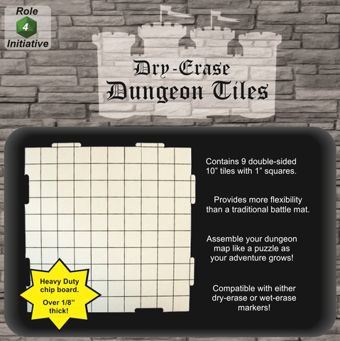 "Dry Erase Dungeon Tiles - Pack of Nine 10"" Interlocking Tiles"