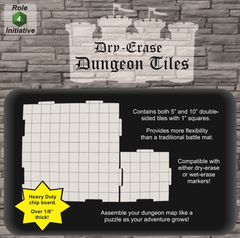 "Dry Erase Dungeon Tiles - Combo Pack of Four 10"" and Sixteen 5"" Interlocking Tiles"