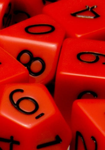 Set of 15 Polyhedral Dice: Opaque Red with Black Numbers