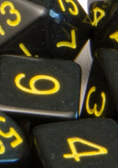 Set of 15 Polyhedral Dice: Opaque Black with Gold Numbers