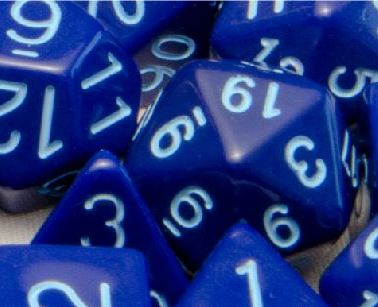 Set of 15 Polyhedral Dice: Opaque Dark Blue with Lt Blue Numbers