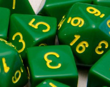 Set of 7 Polyhedral Dice: Opaque Dark Green with Gold Numbers
