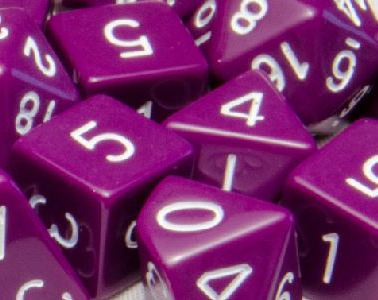 Set of 15 Polyhedral Dice: Opaque Dark Purple with White Numbers