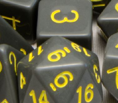 Set of 7 Polyhedral Dice: Opaque Dark Gray with Gold Numbers