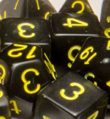 Set of 7 Polyhedral Dice: Translucent Black (Smoke) with Gold Numbers