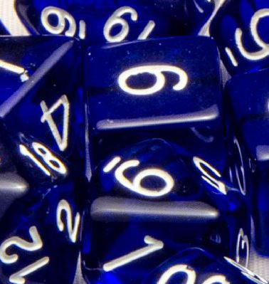 Set of 7 Polyhedral Dice: Translucent Dark Blue with White Numbers