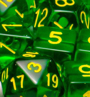 Set of 7 Polyhedral Dice: Translucent Dark Green with Gold Numbers