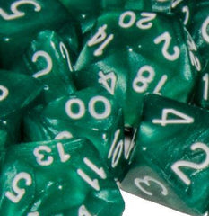 Set of 15 Polyhedral Dice: Marble Green with White Numbers