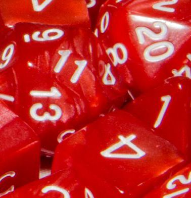 Set of 7 Polyhedral Dice: Marble Red with White Numbers