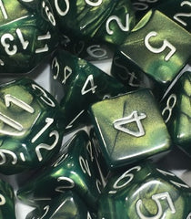 Set of 15 Polyhedral Dice: Emerald Dragon Shimmer with White Numbers