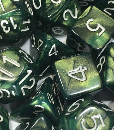 Set of 7 Polyhedral Dice: Emerald Dragon Shimmer with White Numbers