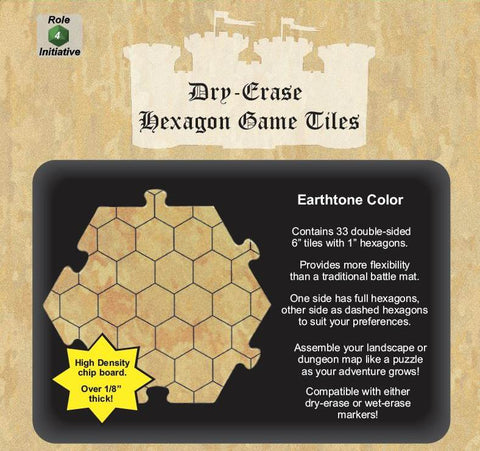 Dungeon Tiles - Earthtone - Pack of 33 six inch hexagons