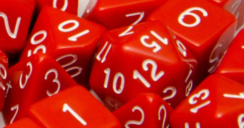 Set of 7 Polyhedral Dice: Opaque Red with White Numbers