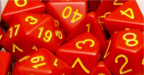 Set of 7 Polyhedral Dice: Opaque Red with Gold Numbers