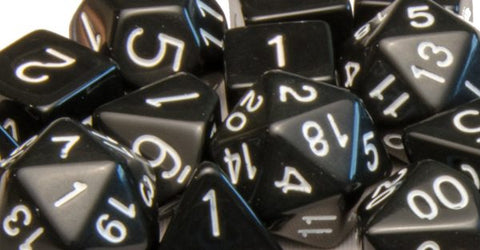 Set of 7 Polyhedral Dice: Opaque Black with White Numbers