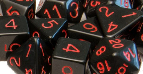 Set of 15 Polyhedral Dice: Opaque Black with Red Numbers