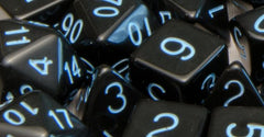 7 Polyhedral Dice: Opaque Black with Lt Blue Numbers