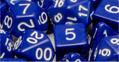 Set of 7 Polyhedral Dice: Opaque Dark Blue with White Numbers