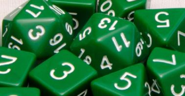 Set of 7 Polyhedral Dice: Opaque Dark Green with White Numbers
